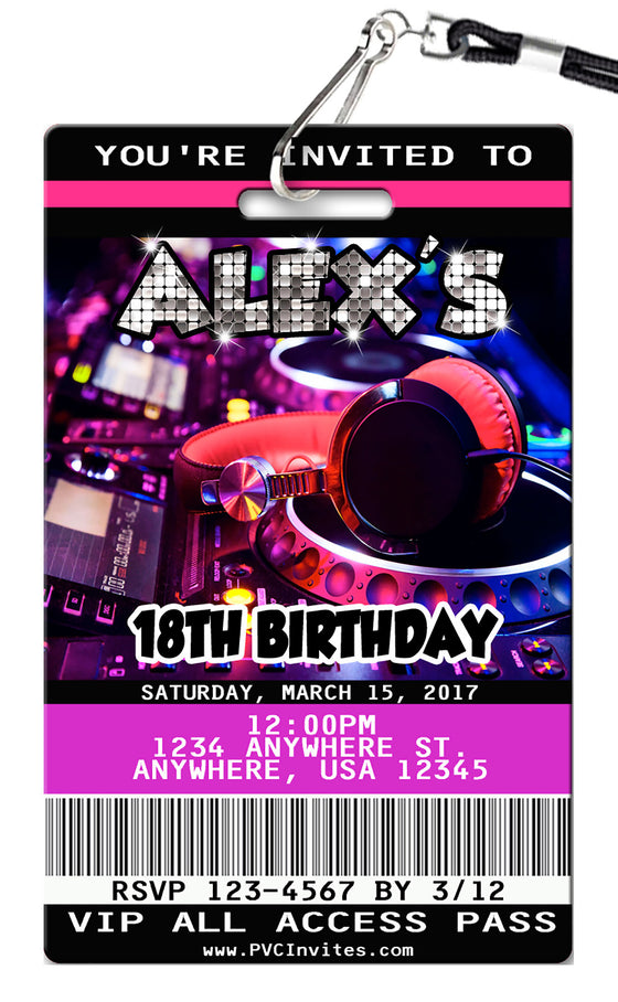 DJ Birthday Invitations