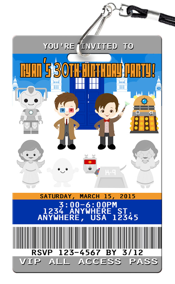 Doctor Who Birthday Invitation