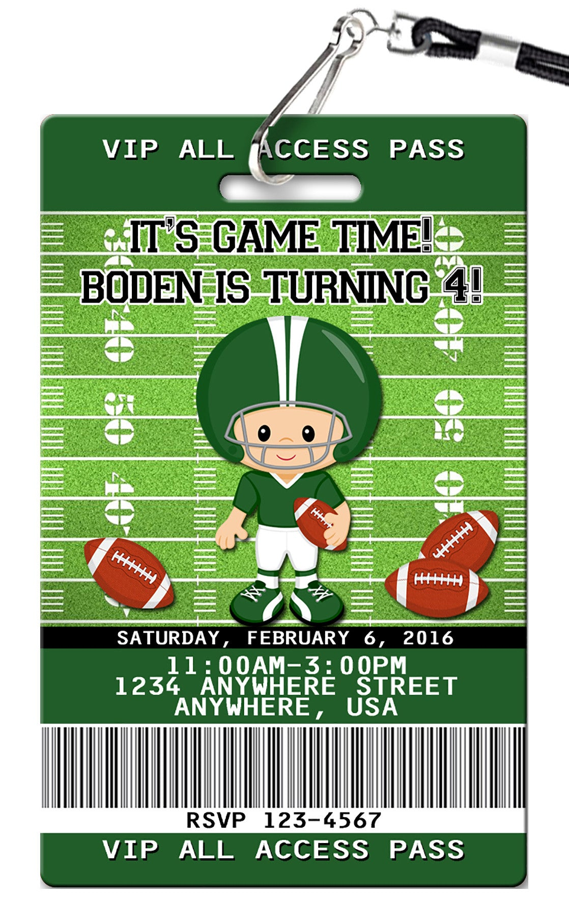 Football Birthday Invitations PVC Invites VIP Birthday Invitations