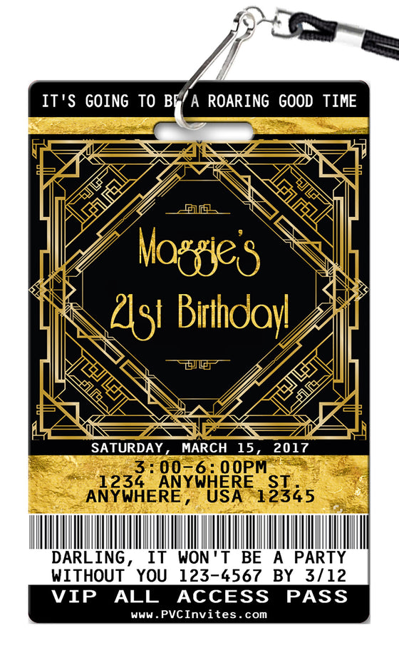 Gatsby Birthday Invitations