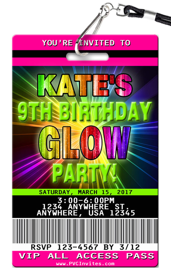 Glow Birthday Invitations