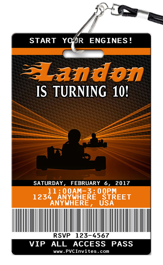 Go-Kart Birthday Invitation