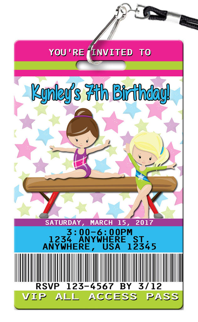 Gymnastics Birthday Invitation