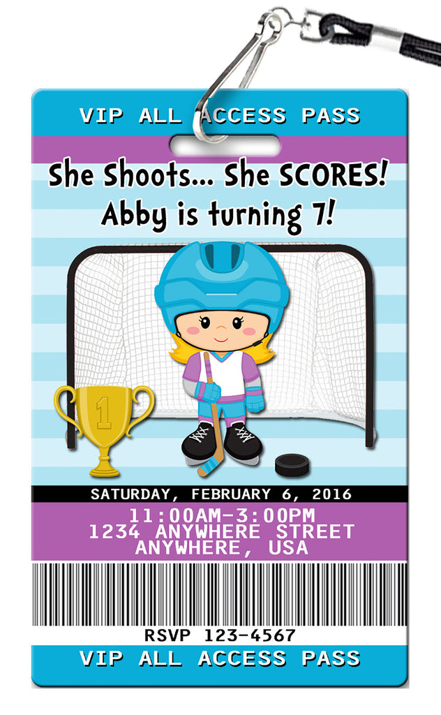 Hockey Girl Birthday Invitation