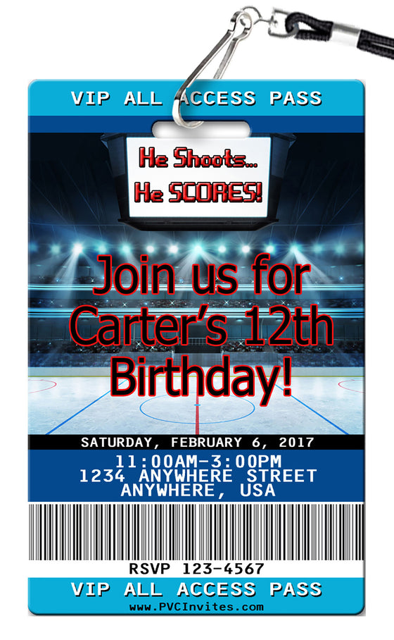 Hockey Birthday Invitation