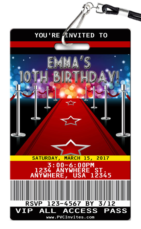 Hollywood Birthday Invitations