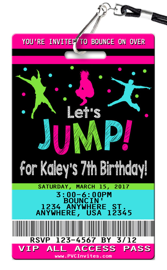 Jump Girl Birthday Invitations