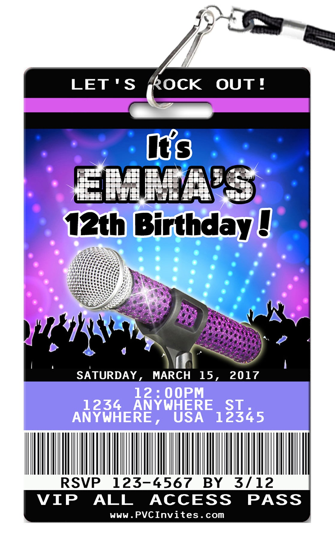Karaoke Birthday Invitations - PVC Invites - VIP Birthday Invitations