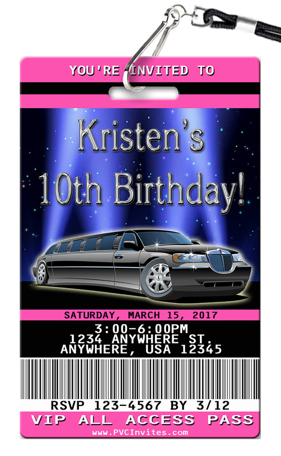 Limo Birthday Invitations
