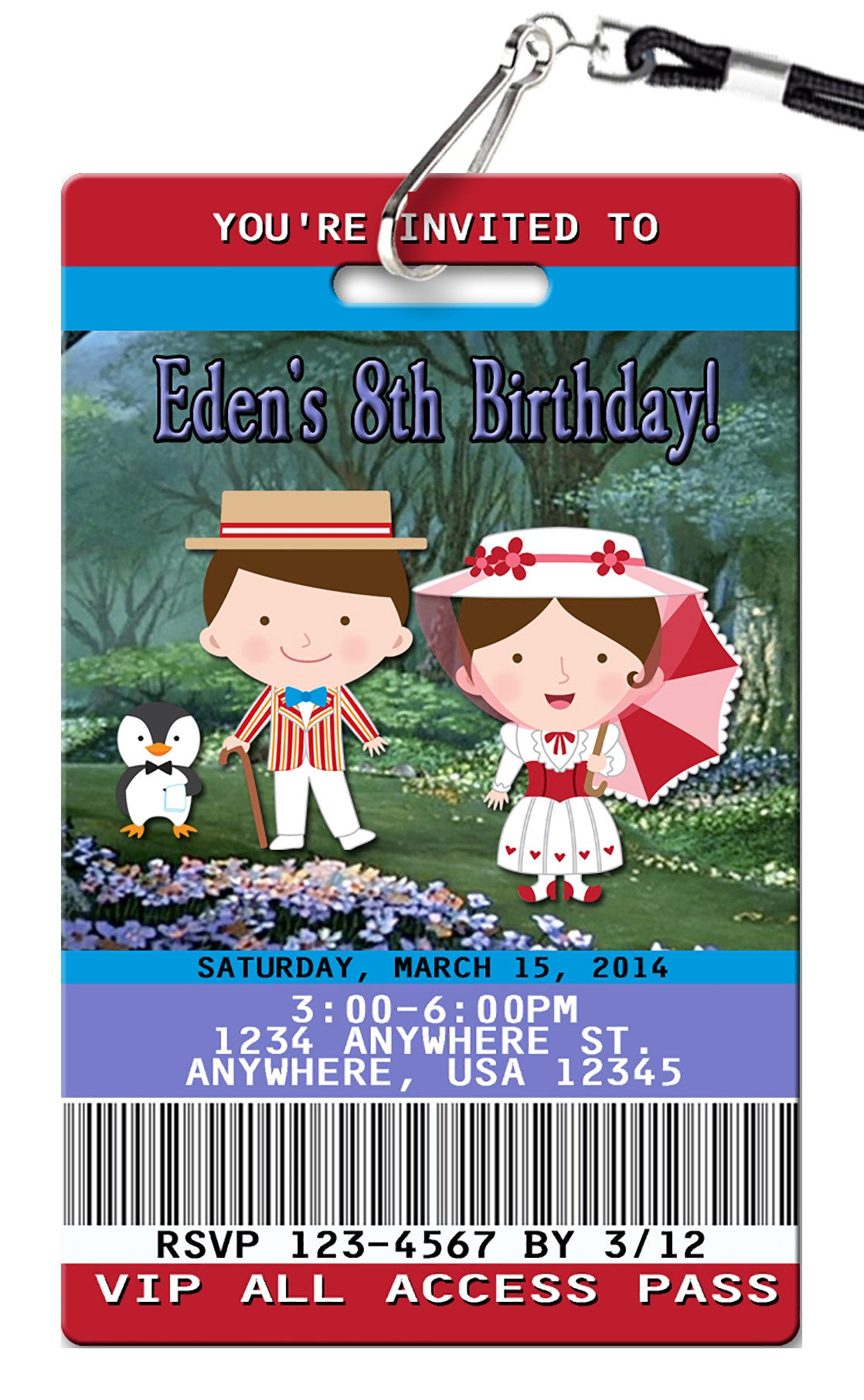 Mary Poppins Birthday Invitation