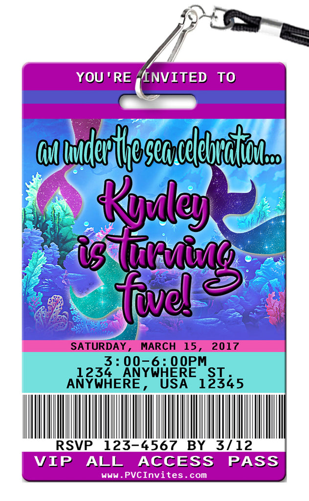 Mermaid Glitter Birthday Invitation