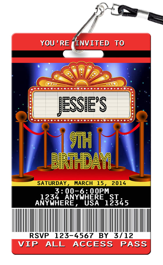 Movie Night Birthday Invitations
