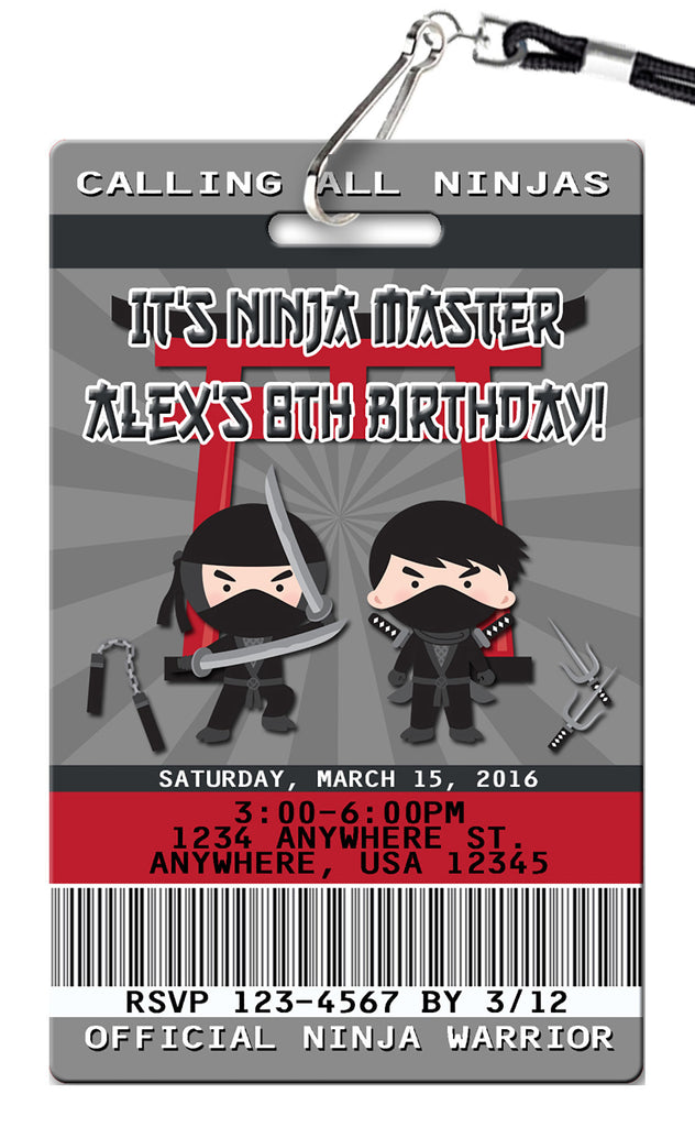 Ninja Birthday Invitation