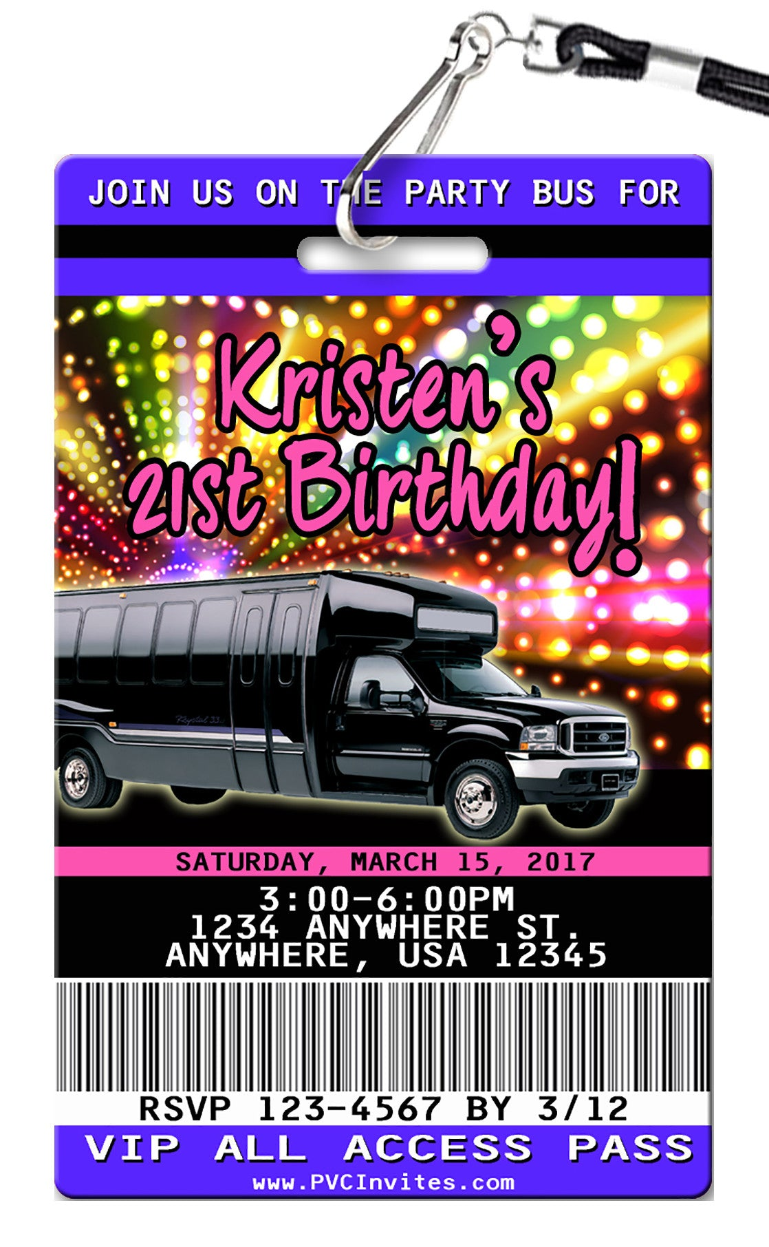 Party bus birthday invitations pvc invites vip birthday party bus birthday invitations stopboris Image collections