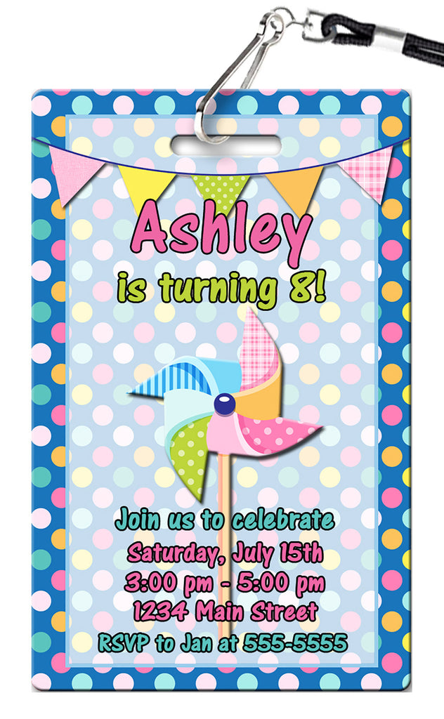 Pinwheels Birthday Invitation