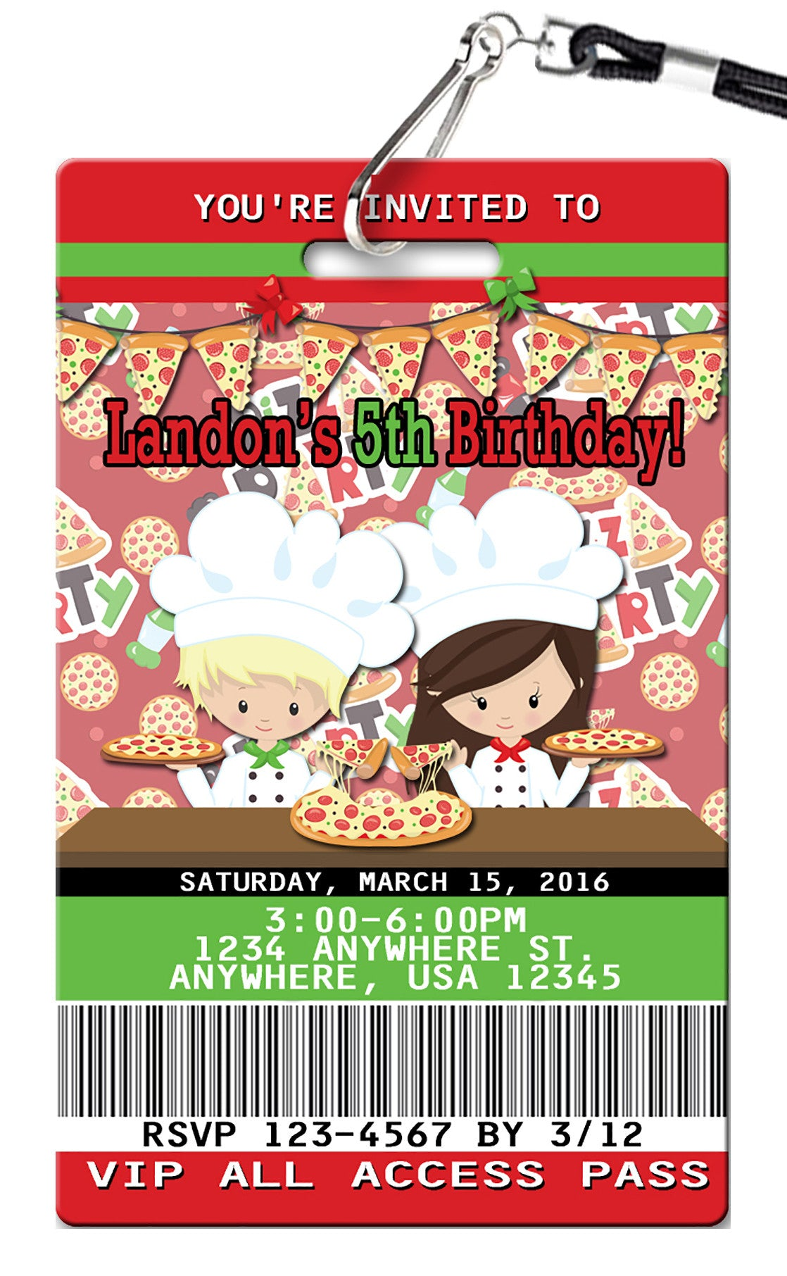 Pizza Party Birthday Invitations PVC Invites VIP Birthday
