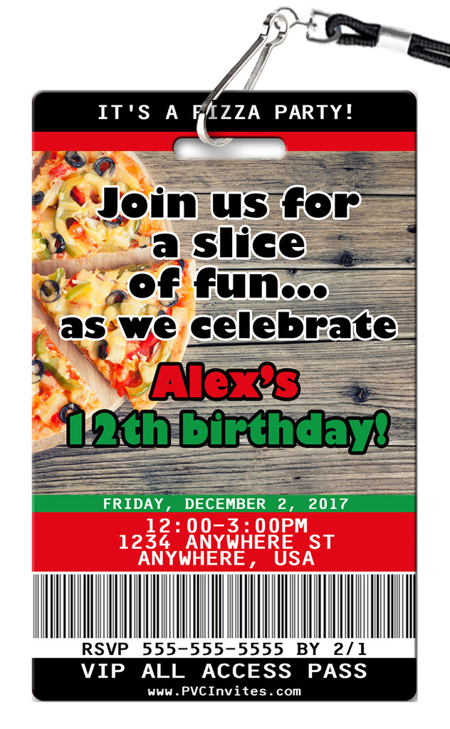 Pizza Party Birthday Invitations