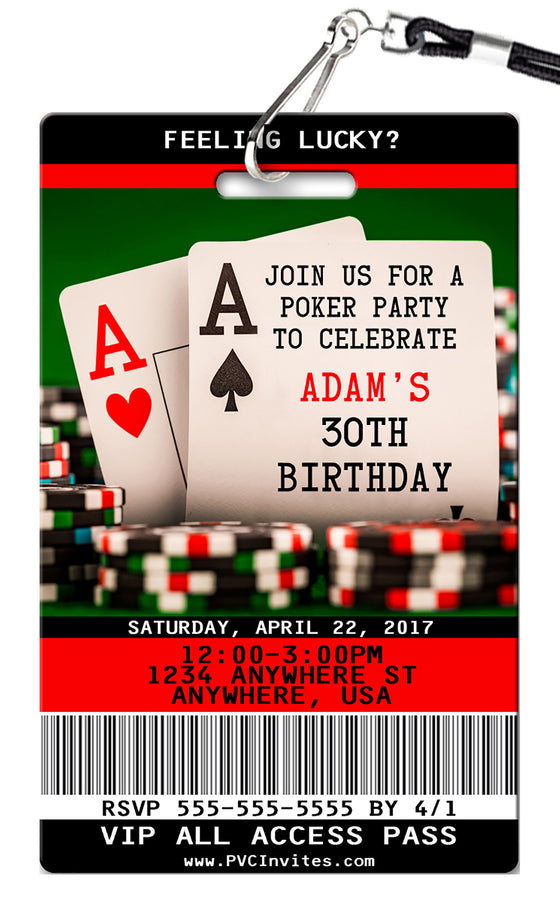Poker Birthday Invitation