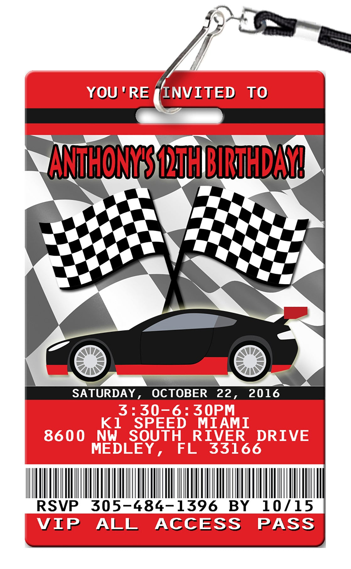 Race Car Birthday Invitations - PVC Invites - VIP Birthday Invitations