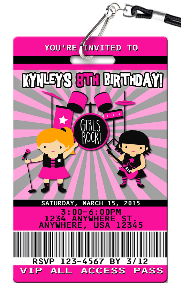 Rock Star Girl Birthday Invitation