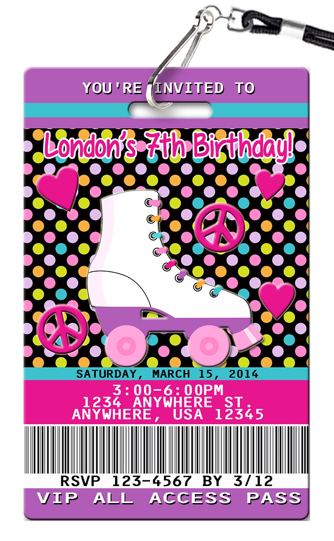 Roller Skate Birthday Invitations PVC Invites VIP Birthday