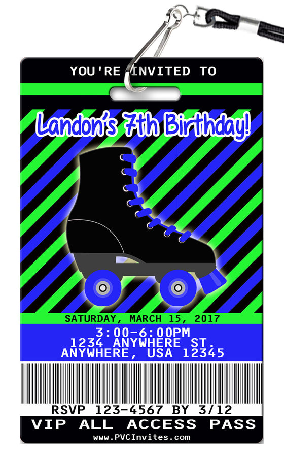 Roller Skate Birthday Invitation