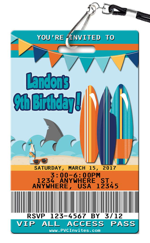 Shark & Surfing Birthday Invitation