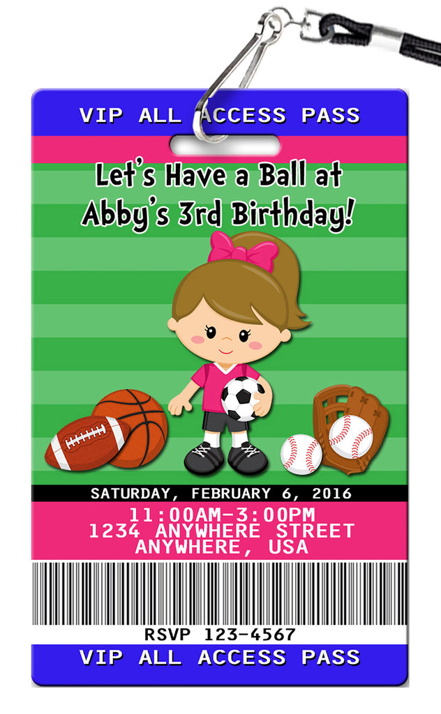 Sports Girl Birthday Invitation