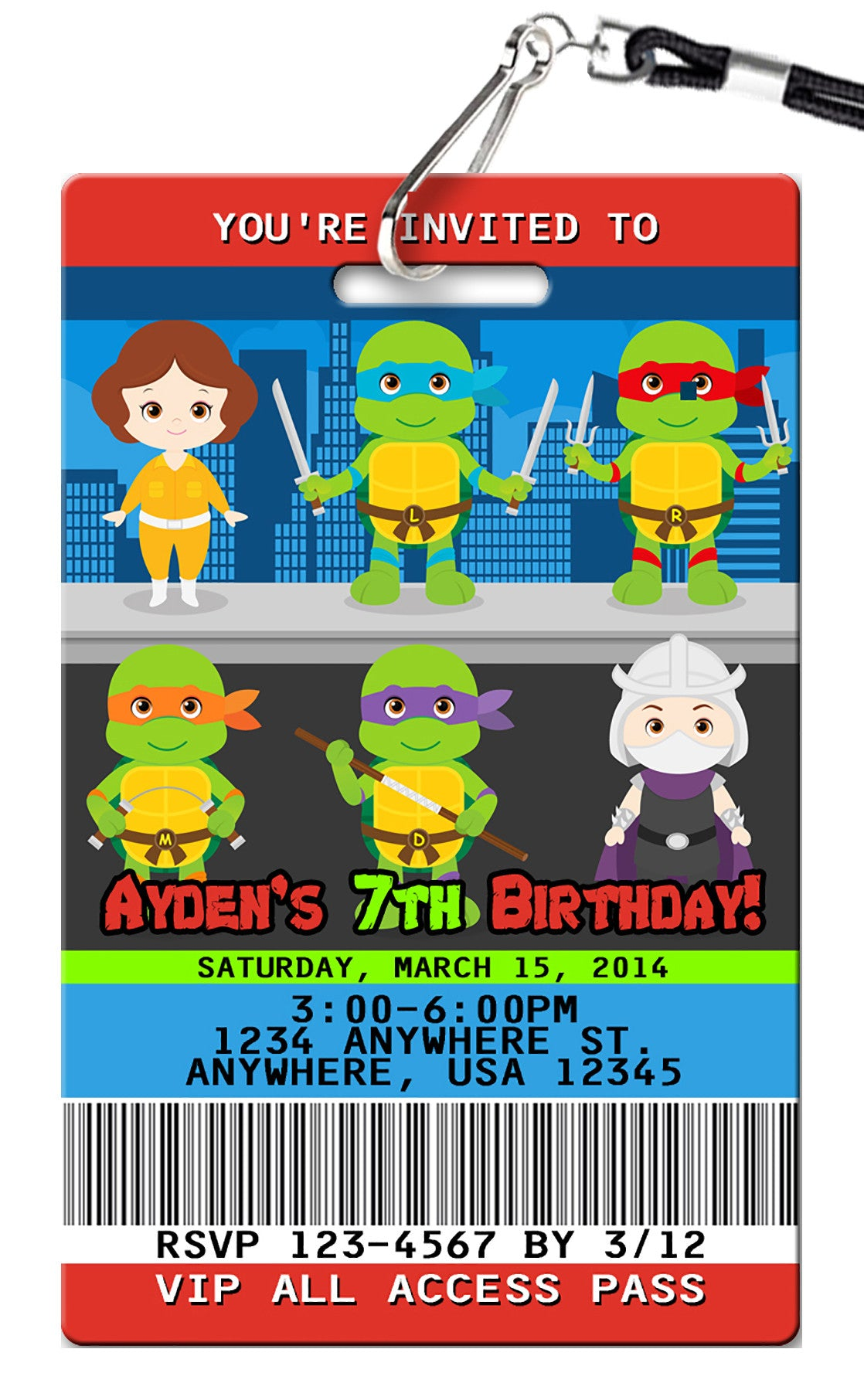 Teenage Mutant Ninja Turtles Birthday Invitations Pvc Invites