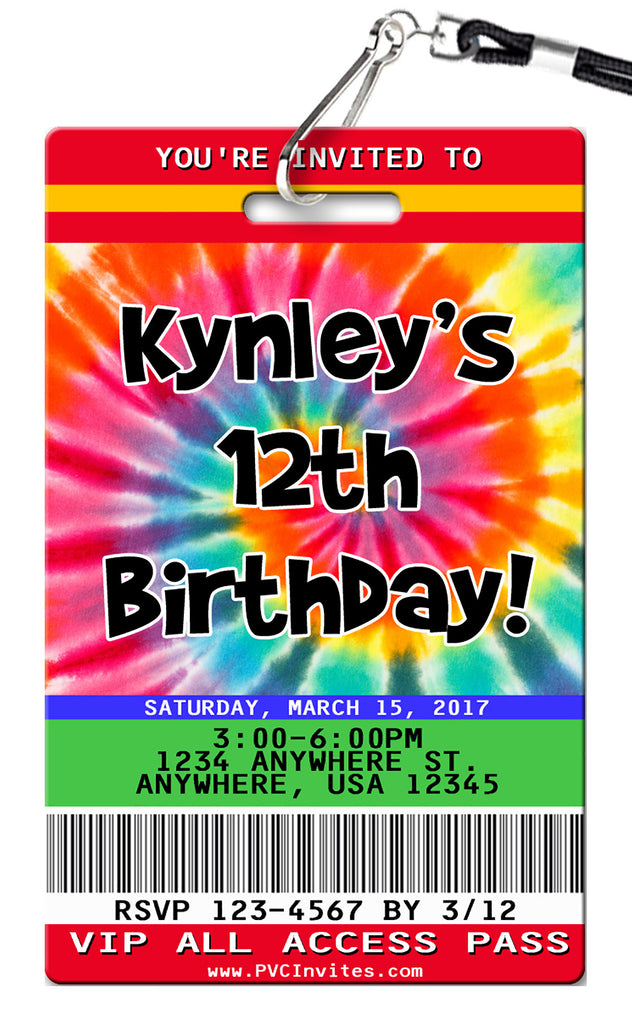 Tie Dye Birthday Invitation
