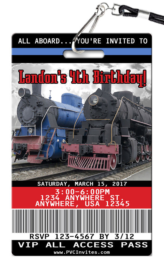 Train Vintage Birthday Invitations