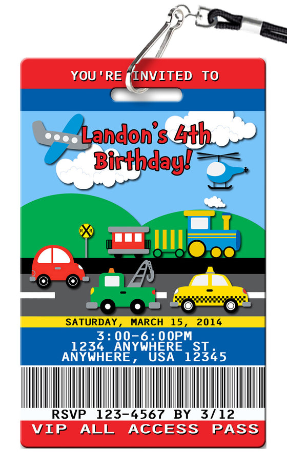 Transportation Birthday Invitation