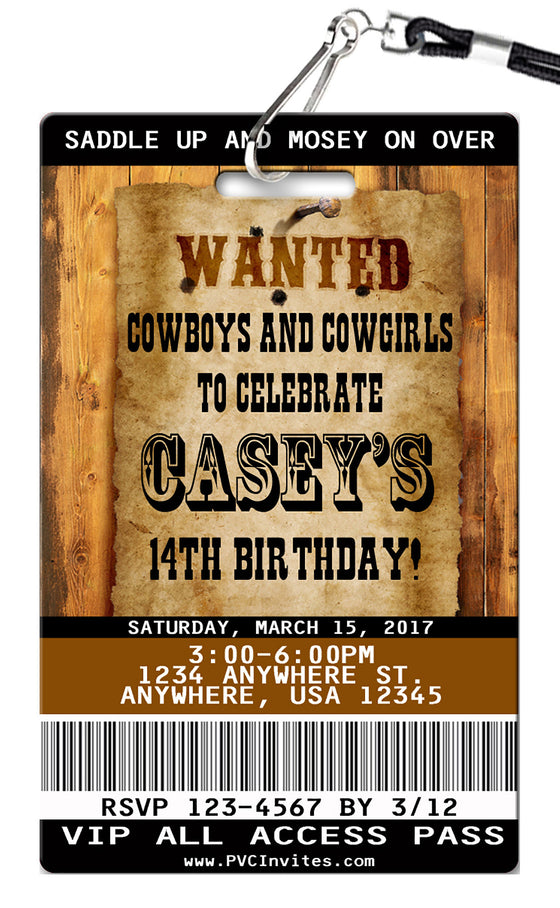 Wanted Birthday Invitations