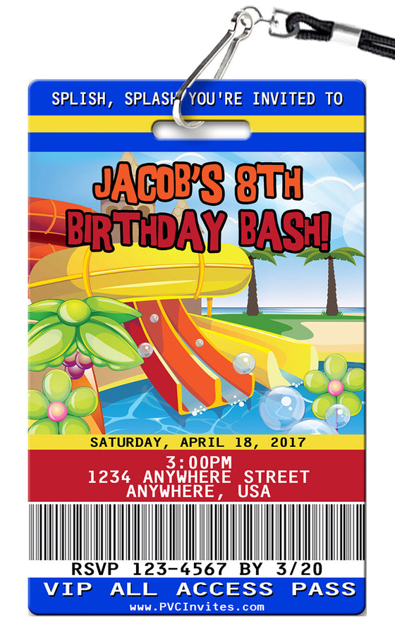 Water Park Birthday Invitation