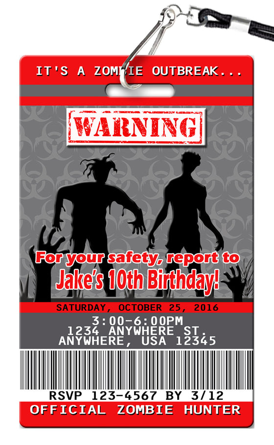 Zombie Birthday Invitations