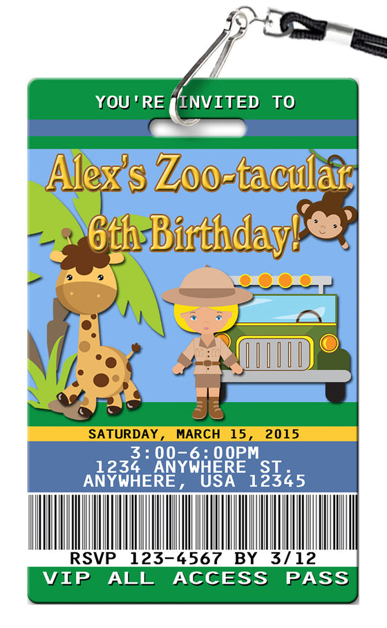 Zoo Girl Birthday Invitation