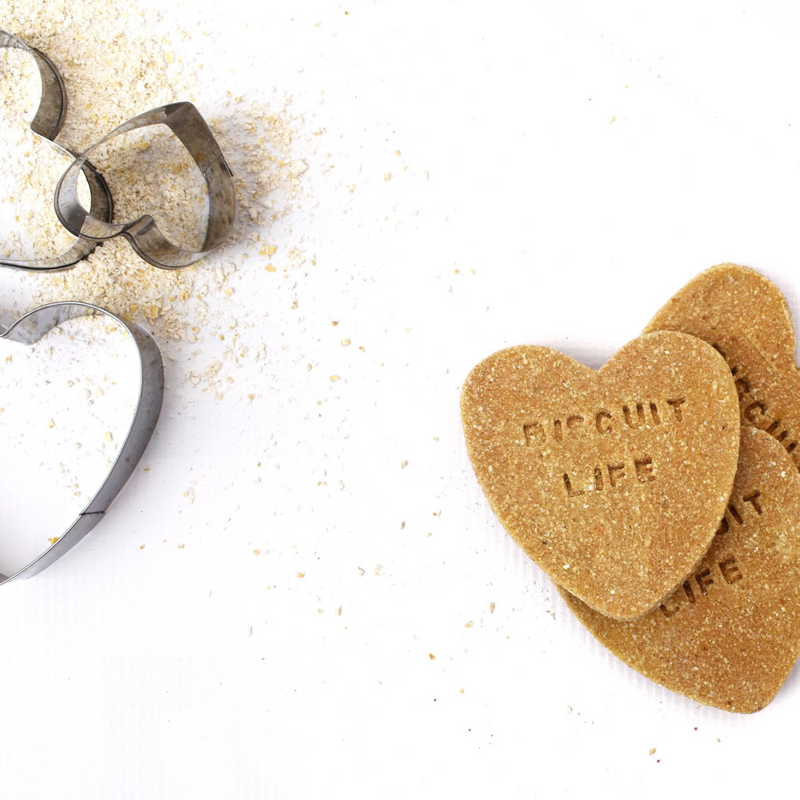 """Biscuit Life"" Banana + Gingerbread Dog Biscuit Heart Trio"
