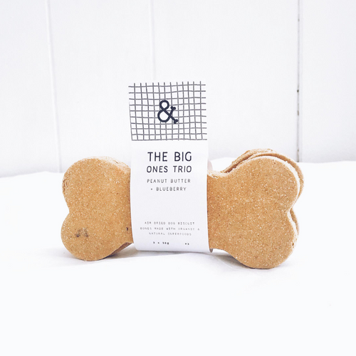 Peanut Butter + Blueberry The Big One Dog Biscuit Bone Trio