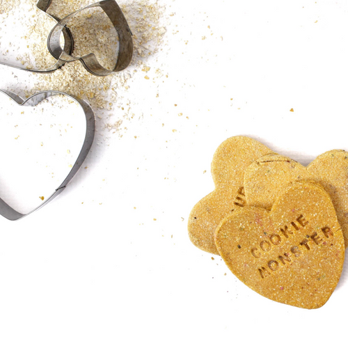 """Cookie Monster"" Peanut Butter + Blueberry Love Heart Dog Biscuit Trio"