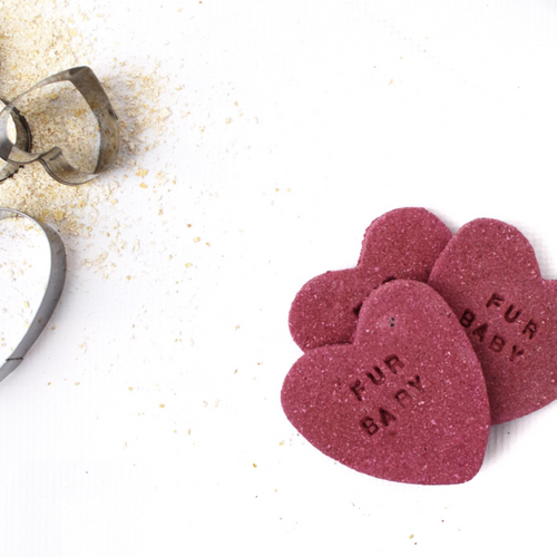"""Fur Baby"" Sweet Apple + Beetroot Love Heart Dog Biscuit Trio"