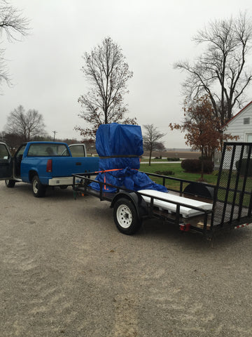 Ole' Blue hauling the freezer from our home.