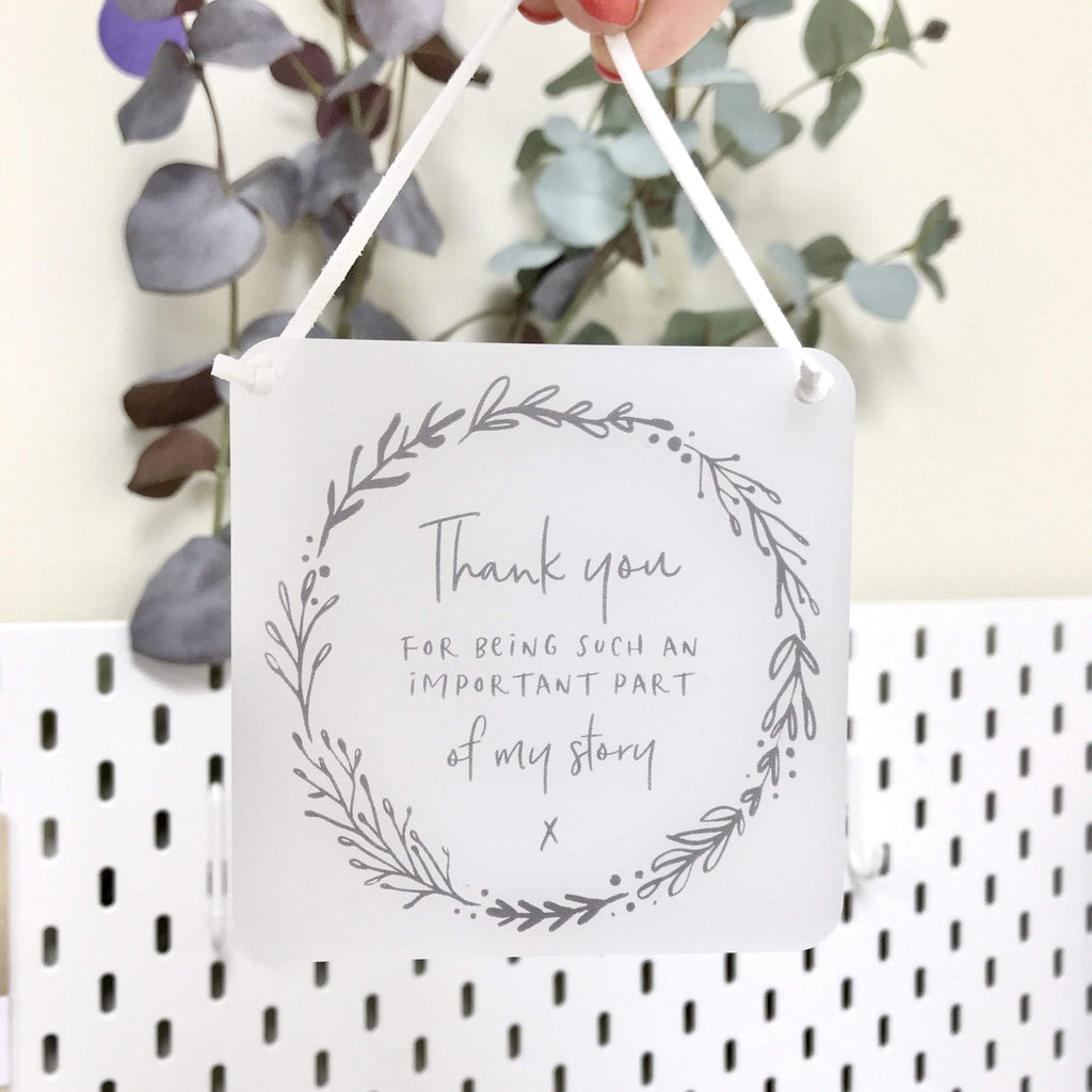 Periwinkle and Clay Acrylic Keepsakes Botanical Thank you Story Acrylic Hanging Plaque Keepsake