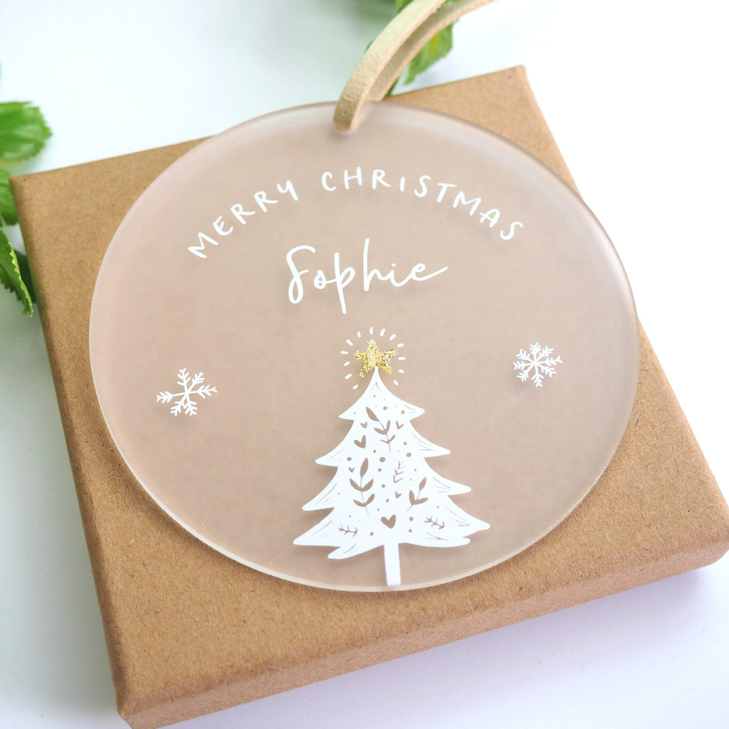 Periwinkle and Clay Acrylic Keepsakes Gold star Christmas Tree Personalised Hanging Decoration