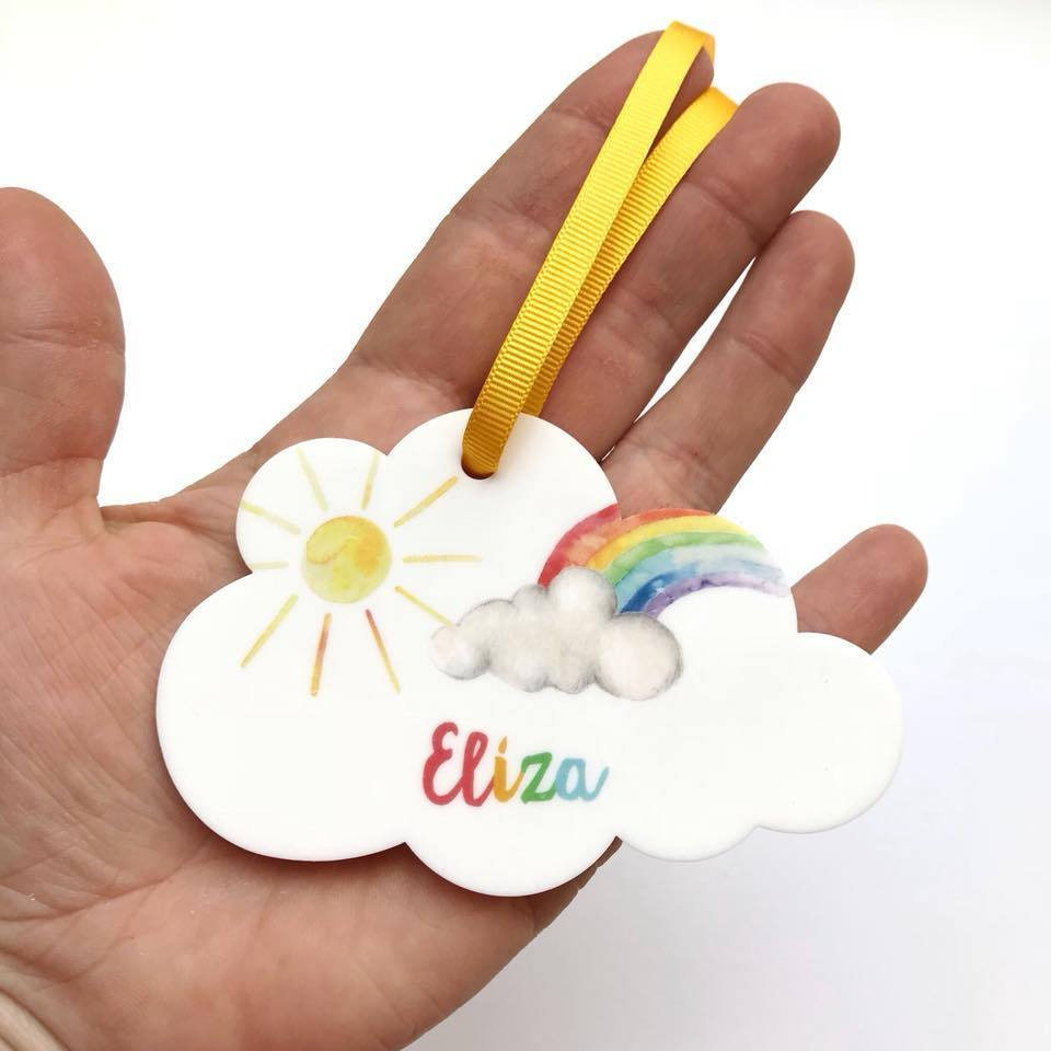 Periwinkle and Clay Acrylic Keepsakes Personalised Rainbow Cloud Keepsake