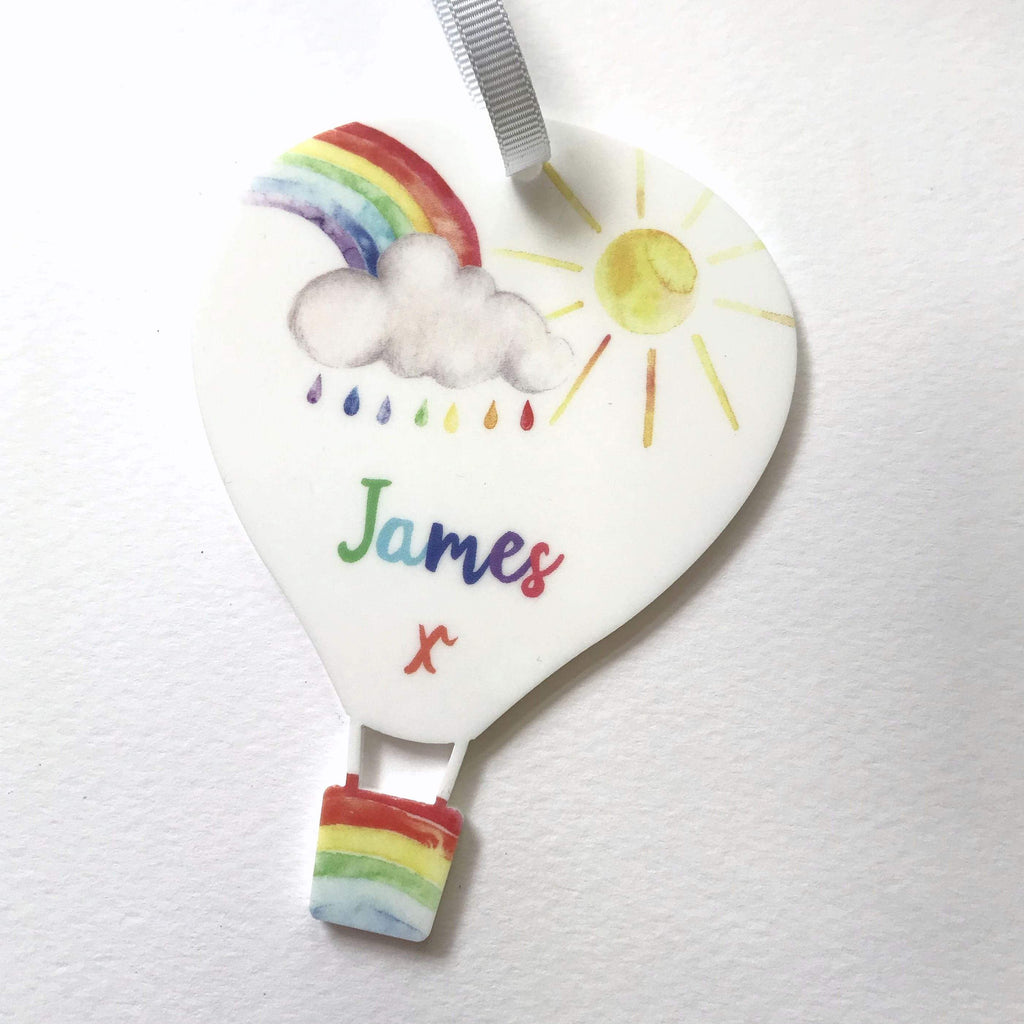 Periwinkle and Clay Acrylic Keepsakes Personalised Rainbow Hot Air Balloon Keepsake