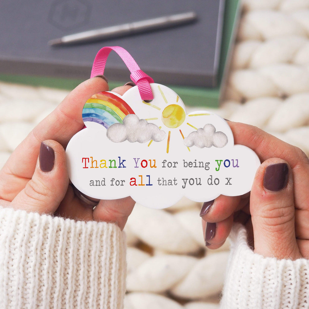 Periwinkle and Clay Acrylic Keepsakes Thank You For Being You Keepsake Cloud