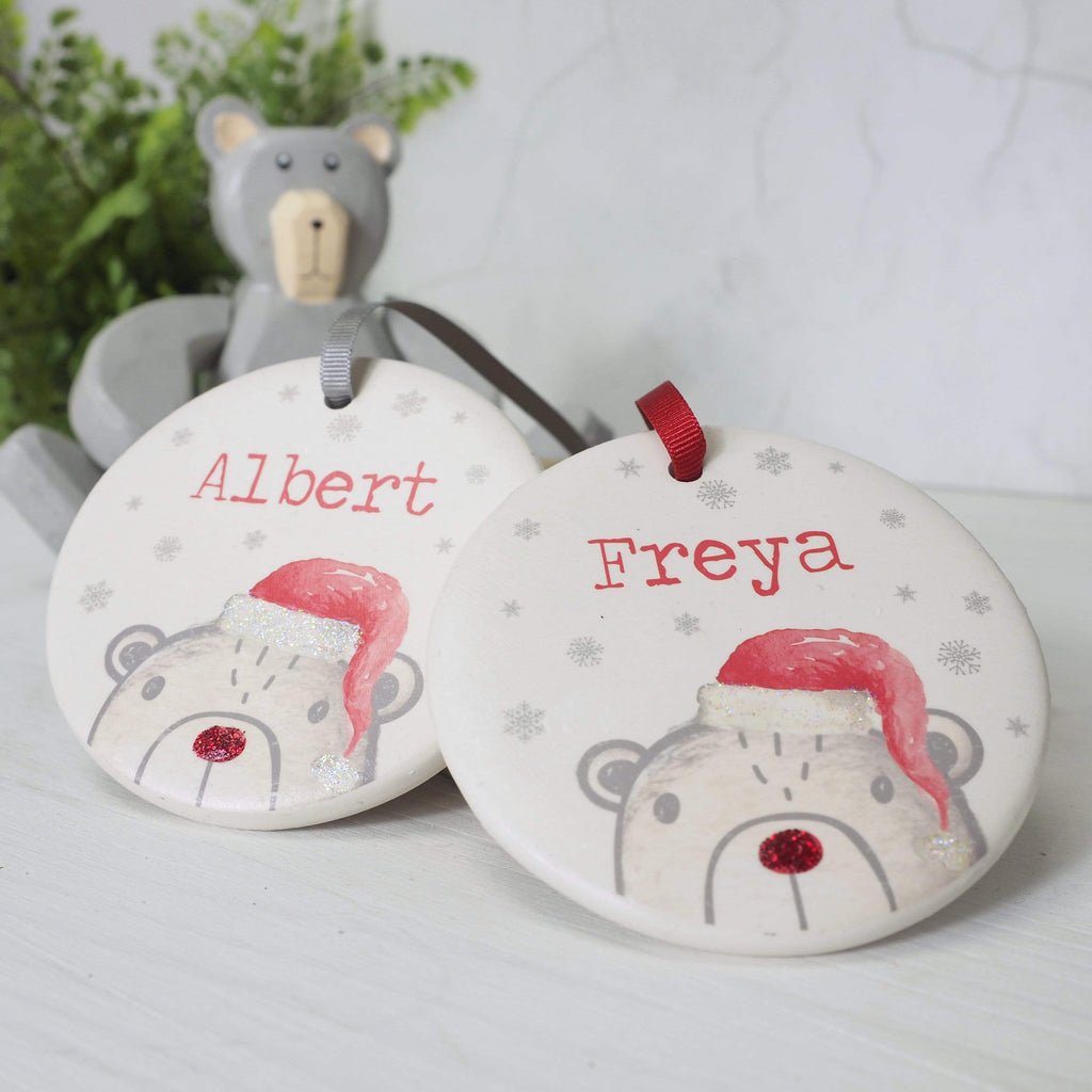 Periwinkle and Clay Ceramic Keepsakes Bear's Christmas Personalised Hanging Decoration