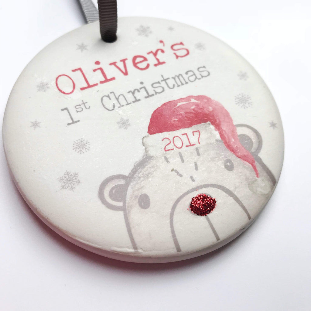 Periwinkle and Clay Ceramic Keepsakes Bear's First Christmas Personalised Hanging Decoration