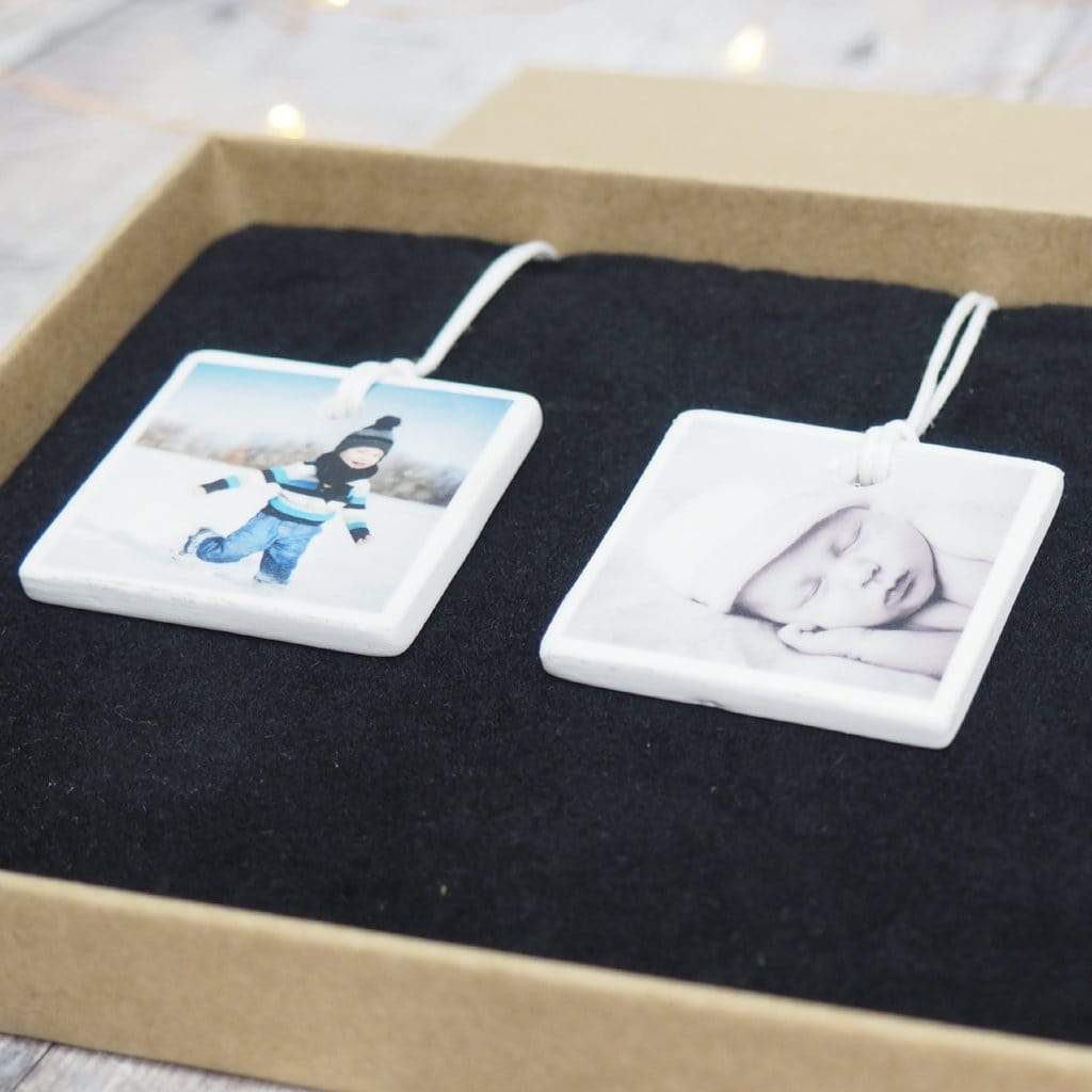 Periwinkle and Clay Ceramic Keepsakes Mini Personalised Hanging Decoration / Set of Three