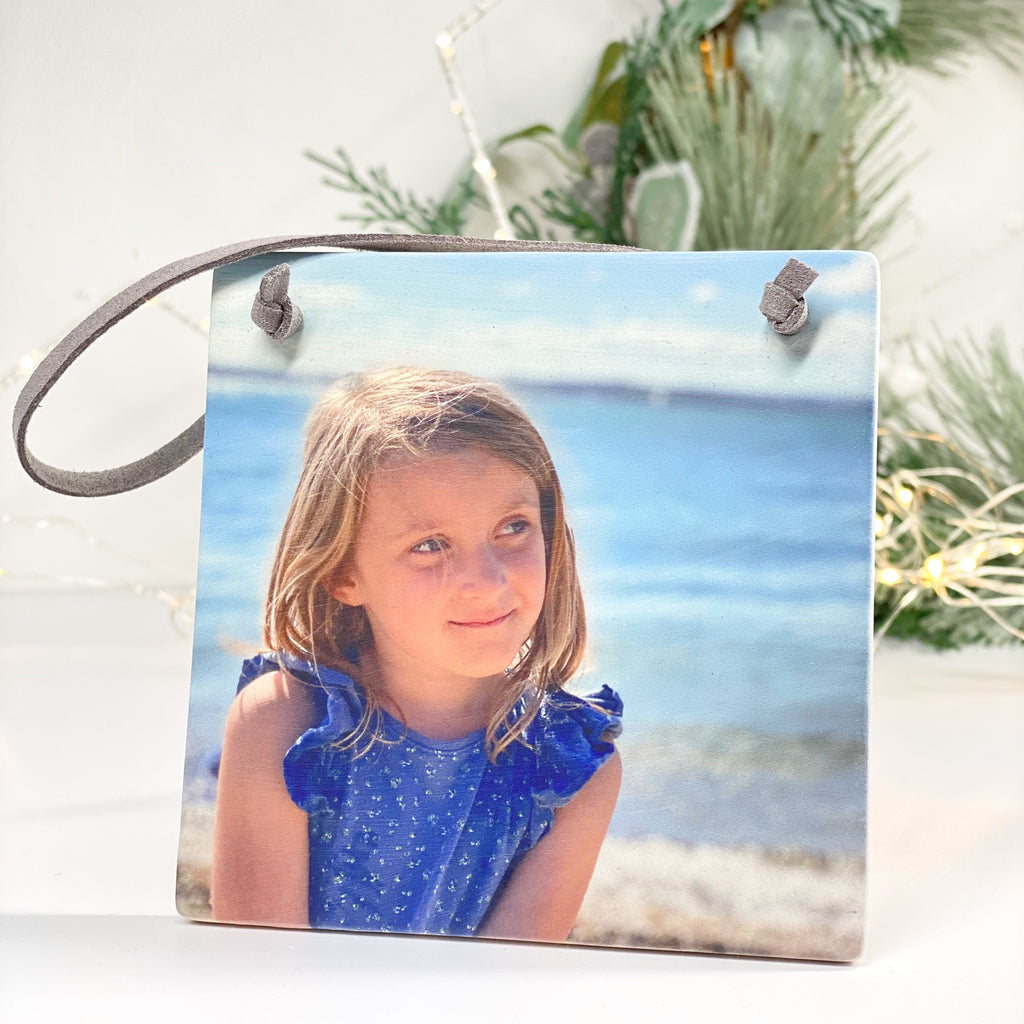 Periwinkle and Clay Ceramic Keepsakes Personalised Ceramic Photo Hanging